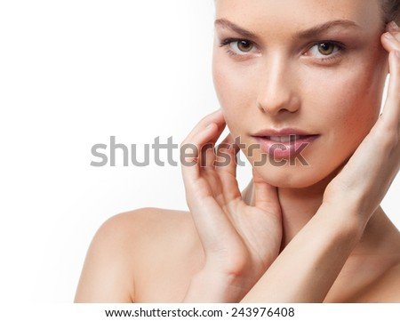 closeup portrait of attractive  caucasian  woman brunette isolated on white studio shot lips  face  head and shoulders looking at camera  - stock photo