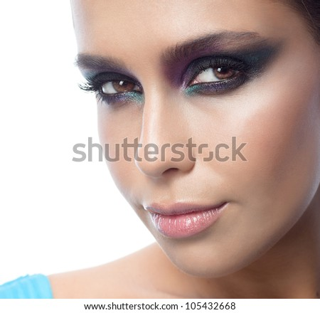 closeup portrait of attractive  caucasian woman brunette isolated on white studio shot looking at camera face skin makeup eyes lips - stock photo