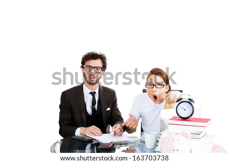 Closeup portrait of attractive couple, man, woman, looking distressed from financial problems, mounting bills, wrong bank charges, statement, isolated on white background. Bad financial decisions. - stock photo