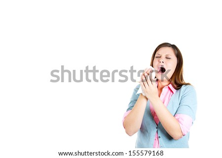 Closeup portrait of attractive woman about to sneeze, isolated on white background with copy space - stock photo
