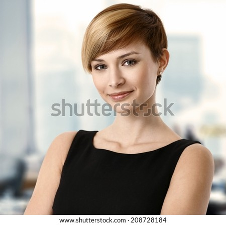 Closeup portrait of attractive young businesswoman. - stock photo