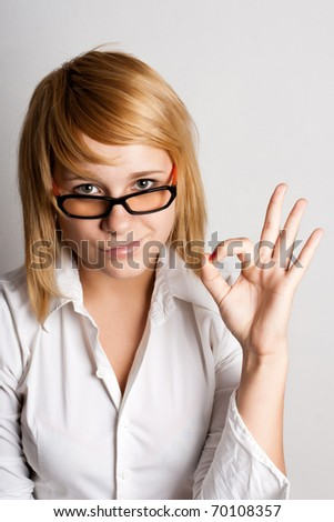 closeup portrait of attractive young businesswoman - stock photo
