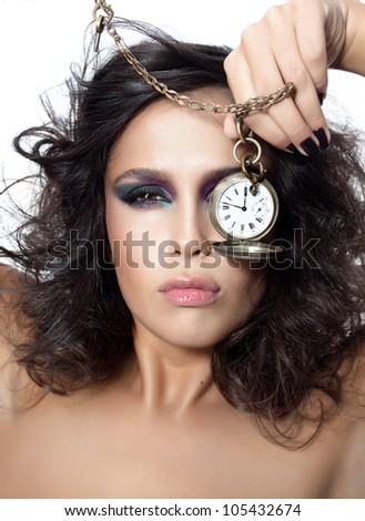 closeup portrait of attractive  young caucasian  woman brunette isolated on white studio shot looking at camera face skin eyes lips makeup hair hand nails watches - stock photo