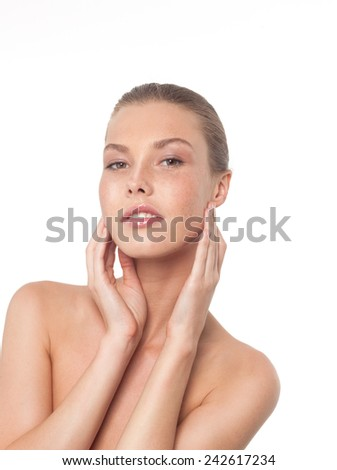 closeup portrait of attractive young  caucasian  woman brunette isolated on white studio shot lips  face  head and shoulders looking at camera  - stock photo
