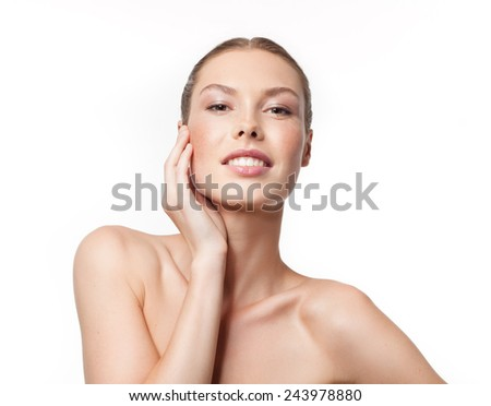closeup portrait of attractive  young caucasian woman  isolated on white studio shot lips  face head and shoulders looking at camera  - stock photo