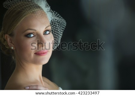 Closeup Portrait of beautiful  bride on elegant white dress - soft focus. Wedding hairstyle and Bridal make up.