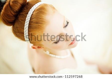 closeup portrait of beautiful bride - soft focus - stock photo