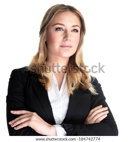 Closeup portrait of beautiful business woman isolated on white background, executive director, young successful people concept - stock photo
