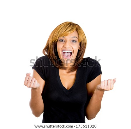 Closeup portrait of beautiful excited, energetic, happy, screaming student woman winner, arms, fists pumped celebrating success, isolated on white background. Positive human emotion, facial expression - stock photo