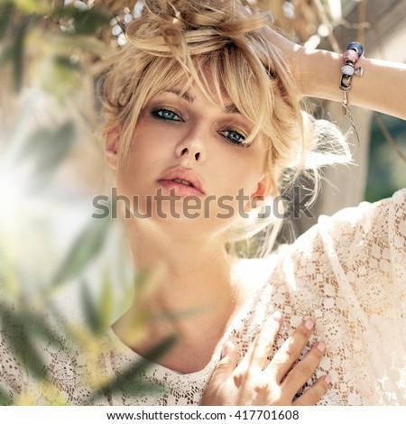 Closeup portrait of beautiful girl  - stock photo