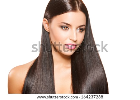 closeup portrait of beautiful girl with straight long dark hair isolated on white background - stock photo