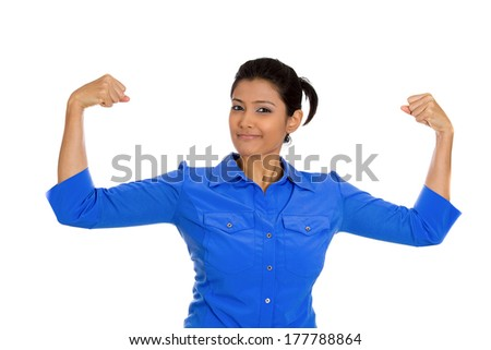 Closeup portrait of beautiful, pretty young model woman flexing muscles showing displaying her gun show, isolated on white background. Positive emotion facial expression feelings, attitude, perception