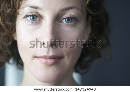 Closeup portrait of beautiful woman at home