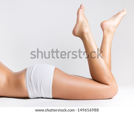 Closeup portrait of beautiful woman legs  - stock photo