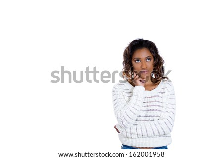 Closeup portrait of beautiful woman with hands fist on face thinking about something that is making her sad looking upwards, isolated on white background with copy space. Negative human emotions  - stock photo