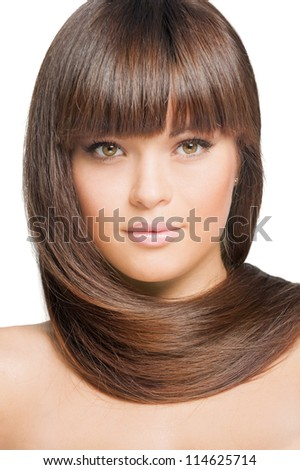 Closeup portrait of beautiful woman with straight long hair, isolated over white background