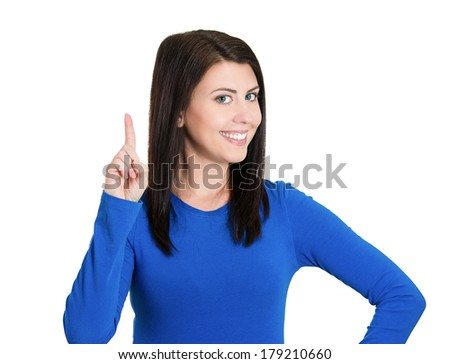 Closeup portrait of beautiful young smiling business woman, pointing with index finger upwards or one sign, isolated on white background. Positive thinking. Emotions, facial expression symbols - stock photo