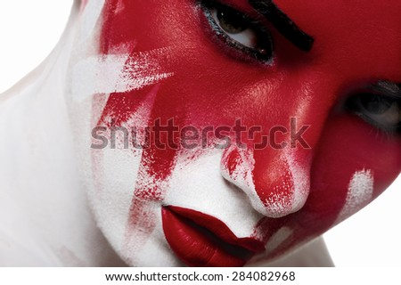 Closeup portrait of beauty girl with bloody face - stock photo