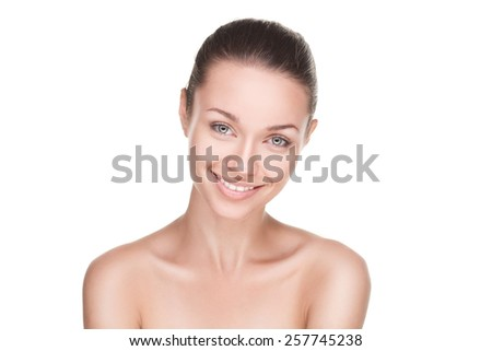 closeup portrait of beauty woman with clean fresh skin isolated over white - stock photo