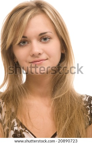 closeup portrait of blond woman on a white background