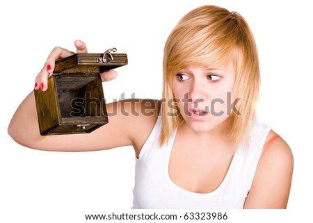 closeup portrait of blond woman with empty wooden box in her hands on white background - stock photo