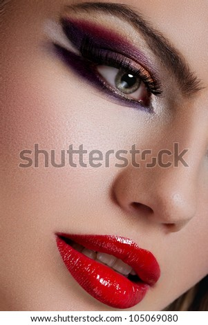 closeup portrait of blonde young woman, with green eyes, full lips and fashion makeup - high end retouching - stock photo