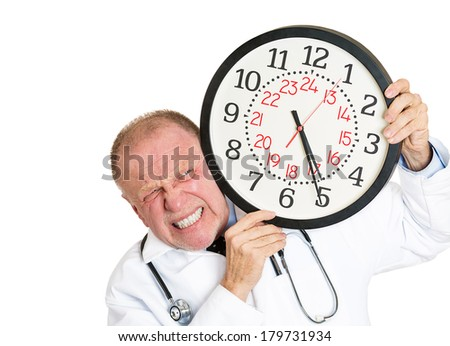 Closeup portrait of busy, senior mature health care professional, doctor, nurse, pressured and overwhelmed by time constraints, isolated white background. Negative emotion facial expression feelings. - stock photo