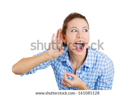 Closeup portrait of carefully listening to someone's conversation, nosy woman with hand to ear, looking surprised, with opened mouth, shocked by what she just discovered, isolated on white background