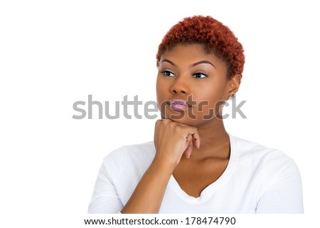 Closeup portrait of charming, beautiful calm, happy, young woman looking sideways daydreaming something nice, thinking isolated on white background. Positive human emotions, facial expression feelings - stock photo
