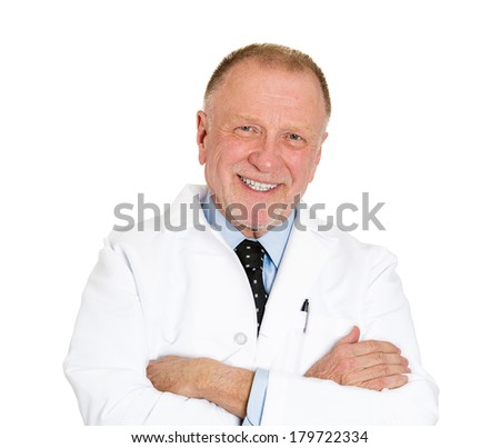 Closeup portrait of confident, happy, smiling, senior mature health care professional, doctor, nurse with arms crossed, isolated on white background. Positive emotion facial expression feelings - stock photo