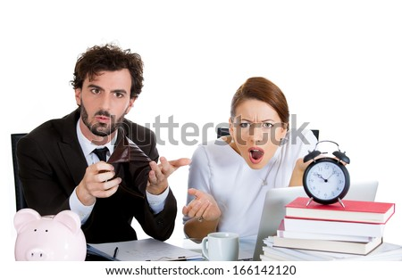 Closeup portrait of couple, man, beautiful woman, looking shocked from financial problems mounting bills, holding empty wallet, isolated on white background. Bad finance decisions, mistake, bankruptcy