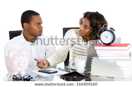 Closeup portrait of couple, man, woman, distressed from financial problem, mounting bills, isolated on white background. Bad market decisions. Husband angry, unhappy with reckless spending of his wife - stock photo