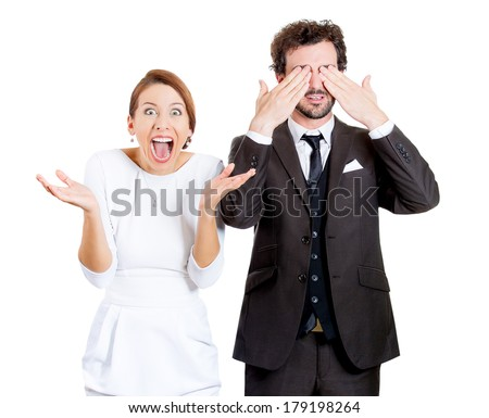 Closeup portrait of couple, wife, husband, man closing his eyes, quiet, calm, trying to avoid situation, woman being active, showing interest, confronting easy problem, isolated on white background