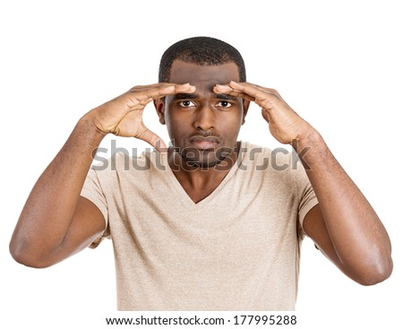 Closeup portrait of curious, thorough student, thoughtful man, guy looking through imaginary binocular. Studio shot isolated on white background. Human face expressions, emotions, signs, body language - stock photo