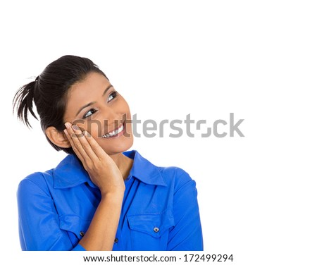 Closeup portrait of cute pretty smiling young woman, student thinking hand on cheek looking up having an idea, isolated on white background. Positive emotions, facial expressions, feelings, attitude - stock photo