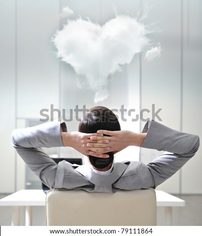 Closeup portrait of cute young business woman from behind. Dreaming about love with her colleague - stock photo