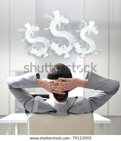 Closeup portrait of cute young business woman from behind. Dreaming about money - stock photo