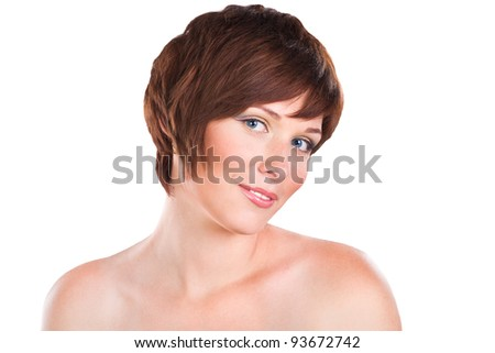 closeup portrait of cute  young woman isolated on white background - stock photo