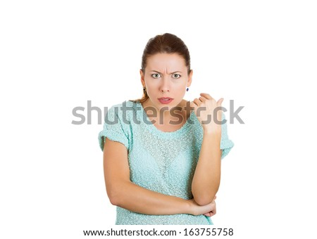 Closeup portrait of displeased pissed off, angry woman with bad attitude looking at you camera gesture folded arms, isolated on white background . Negative human emotion facial expression - stock photo