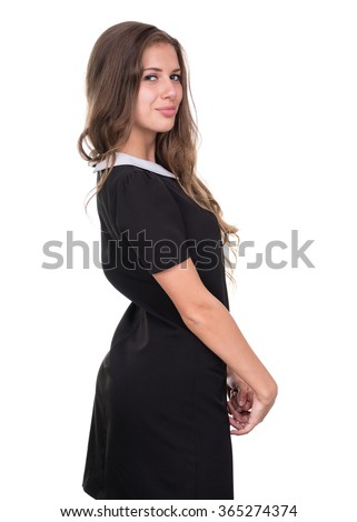 Closeup portrait of dreamy woman isolated on white - stock photo