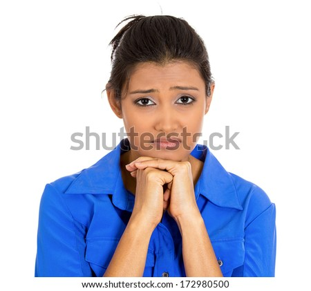 Closeup portrait of dull upset sad bothered young woman resting face on hand, really depressed about something, isolated on white background. Negative emotion facial expression feelings, body language - stock photo