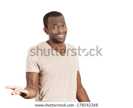 Closeup portrait of easy going clueless young man, student arms out asking what's the problem who cares so what I don't know. Isolated on white background. Human emotions, facial expressions, reaction - stock photo