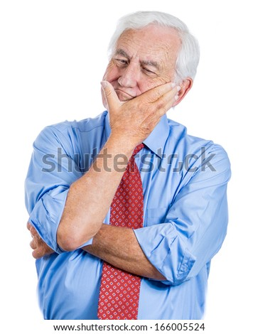 Closeup portrait of elderly executive, old corporate employee grandfather senior man deep in thought troubled with something, sad concerned, isolated on white background. Emotions, facial expressions  - stock photo