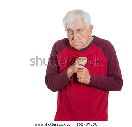 Closeup portrait of elderly, poor man, retired old guy, grandfather, senior former employee deep in thought, troubled with something, sad and concerned, isolated on white background. Human emotions  - stock photo