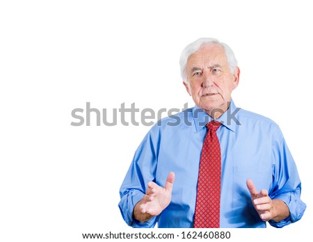 Closeup portrait of elderly sad man suffering from memory loss, trying to remember, recall some information, isolated on a white background. Geriatrics health issues and problems. Human emotions - stock photo