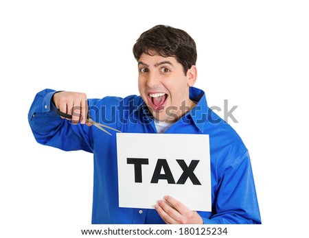 Closeup portrait of excited, happy, energetic enthusiastic young business man, funny looking guy, worker, dedicated employee cutting taxes with scissors, isolated on white background. Government. IRS. - stock photo