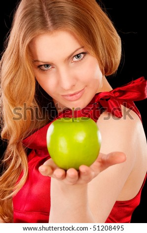 Closeup portrait of girl with green apple, isolated on white background. - stock photo