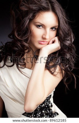 closeup portrait of glamour young girl with beautiful hair - stock photo