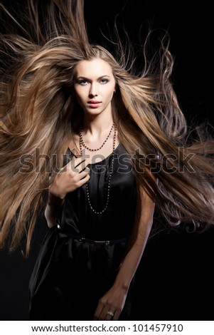 closeup portrait of glamour young girl with beautiful long hair - stock photo