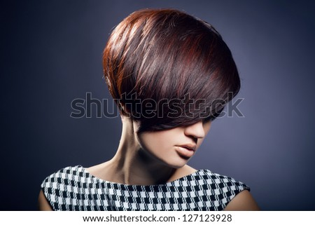 closeup portrait of glamour young girl with beautiful short hair - stock photo